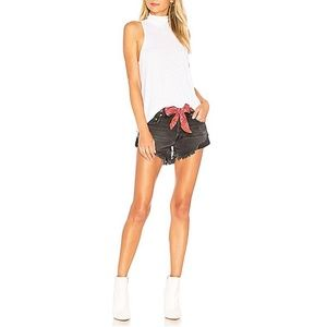 Free People Raw Hem Relaxed Black Jean Shorts